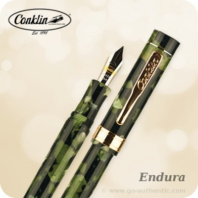 Conklin Endura Fountain Pen, Green Black  CK71210