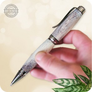 Cigar Twist Ballpoint Pen handcrafted in Elk Antler Horn, Black Titanium w/ Platinum