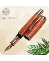 Gentlemen's Fountain Pen Full Size - Rhodium, Tulipwood Handmade