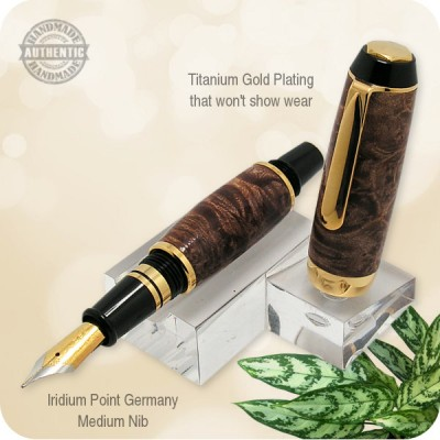 Handcrafted Fountain Pen Maple Wood Burl, El Toro in Titanium Gold Plating