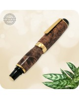 Handmade Fountain Pen, Maple Wood Burl in Titanium Gold - El Toro