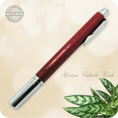 Handcrafted Rollester Rollerball Pen - African Padauk Wood