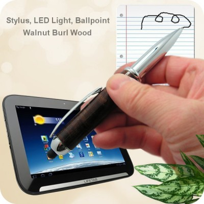 Handcrafted 3-in-1 Flip Stylus, Ballpoint, LED Flashlight Pen Walnut Burl Wood