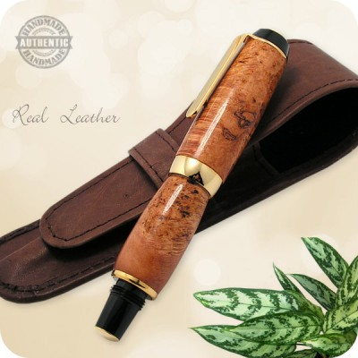 Handmade Fountain Pen Cherry Wood Burl, El Toro in Titanium Gold Plating
