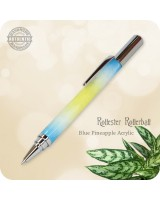 Rollester Acrylic Pen, Crushed Blue Pineapple, Handmade Rollerball