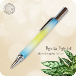 Handcrafted Rollester Rollerball Pen Yellow Blue Pineapple Acrylic, Chrome
