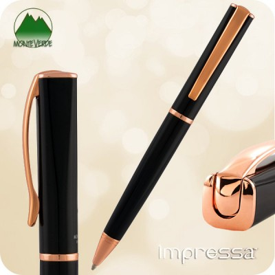 Monteverde Impressa Ballpoint Twist Pen,  Black w/ Rose Gold