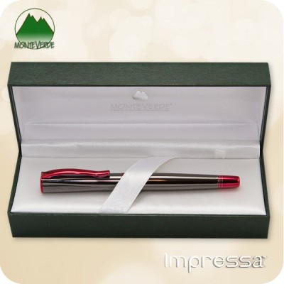 Monteverde Impressa Fountain Pen,  Gun Metal w/ Red