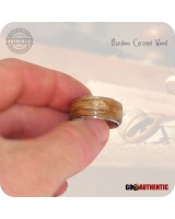 Wooden Ring 10mm Band - Handmade Caramel Bamboo Wood