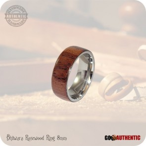 Handmade Wood Ring from Bhilwara Rosewood on 8mm Band, Stainless Steel Comfort Core