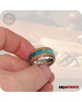 Wooden Ring 10mm Band - Handmade Claro Walnut Aqua Inlay