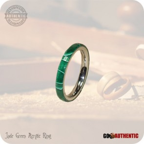 Jade Green Acrylic Ring - 3mm Band - Handmade Fashion Rings