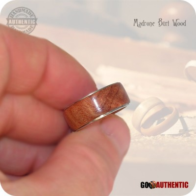 Handmade Wood Ring from Madrone Burl on 8mm Band, Stainless Steel Comfort Core