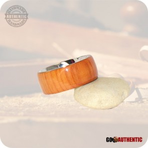Pacific Yew Wooden Ring - 10mm Stainless Steel Comfort Band