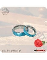 Acrylic Persian Blue Ring Set 8mm & 5mm Bands - Handcrafted in Aqua Blue