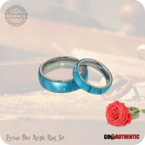 Persian Blue Acrylic Ring Set 8mm & 5mm Bands - Handmade Wedding Rings, Valentine Rings