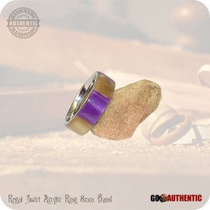 Regal Swirl Acrylic Ring - 8mm Band - Handmade Fashion Rings