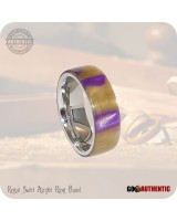 Acrylic Regal Swirl Ring - 8mm Band - Handcrafted in Purple Gold
