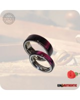 Acrylic Burgundy Red Ring Set 8mm & 5mm Bands - Handcrafted in Ruby Red