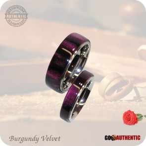 Red Burgundy Velvet Acrylic Ring Set 8mm & 5mm Bands - Handmade Wedding Rings, Valentine Rings