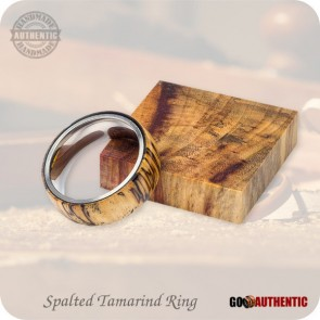 Handmade Wood Ring from Spalted Tamarind on 8mm Band, Stainless Steel Comfort Core