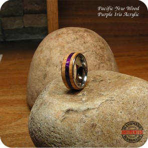 Pacific Yew Wood Ring on 8mm Stainless Steel Comfort Band, Handcrafted