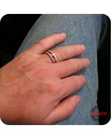 Wood Ring 8mm Band - Handmade Pacific Yew Purple Iris Acrylic Inlay