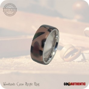 Woodland Camo Acrylic Ring 10mm Band Handmade Fashion Rings