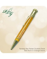 RLG Fantasy Pen - Parker DuoFold Twist Ballpoint, Orange Stone
