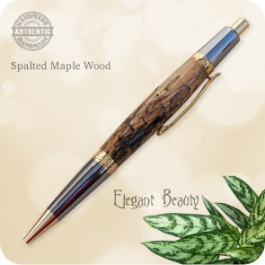 Elegant Beauty Sierra Ballpoint Click Pen Spalted Maple Burl Wood