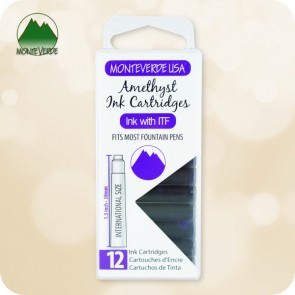 Amethyst Monteverde ITF Fountain Pen Ink Cartridges 12pc - International Standard Size