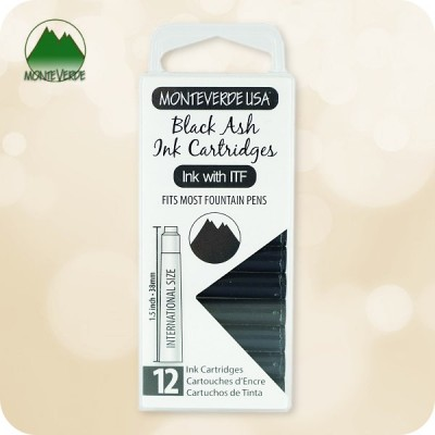 Black Ash Monteverde ITF Fountain Pen Ink Cartridges 12pc - Standard
