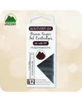 12pc Fountain Pen Ink Cartridges Monteverde ITF - International Standard Size - Brown Sugar