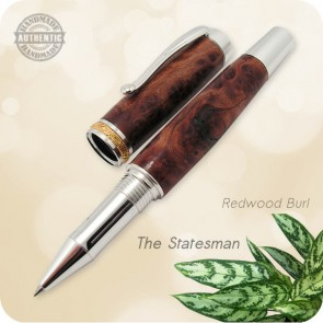 Statesman Rollerball Pen Full Size - Burl Wood, Acrylics, Horn +
