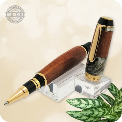 Handcrafted El Presidente Rollerball Pen Yucatan Rosewood w/ Barista Accents, Titanium Gold